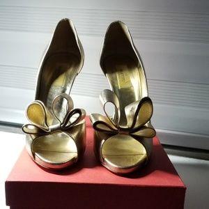 Gold Valentino Evening Pumps